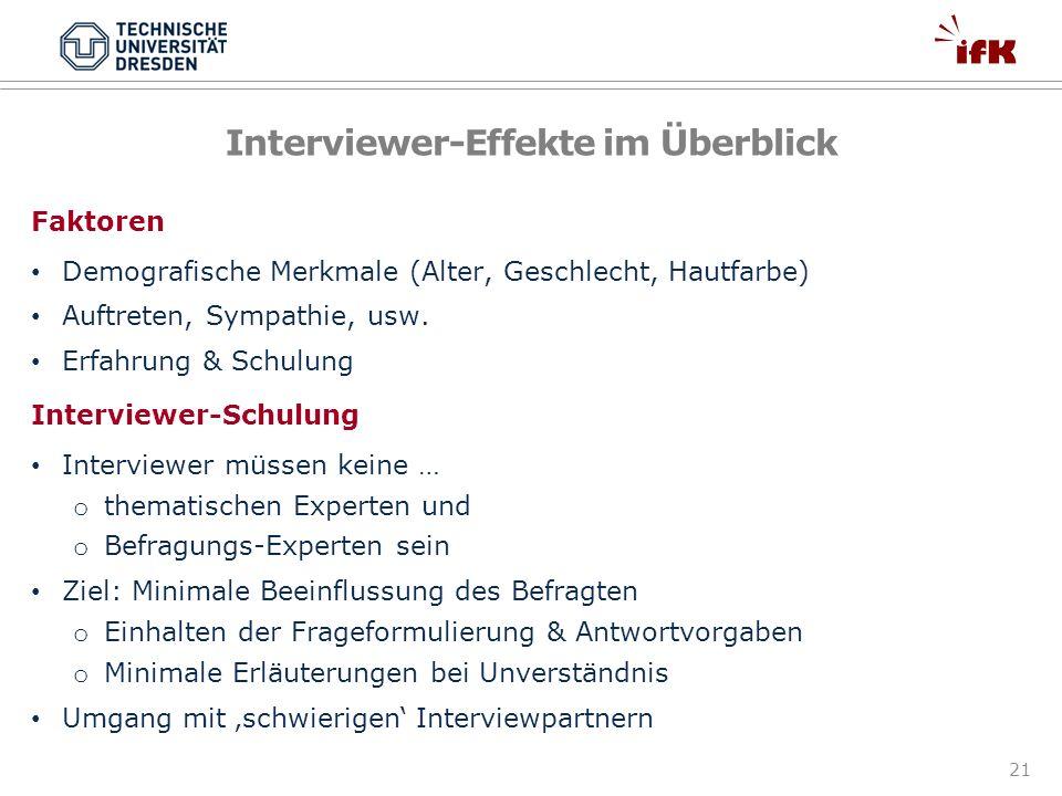 Interviewer-Effekte im Überblick