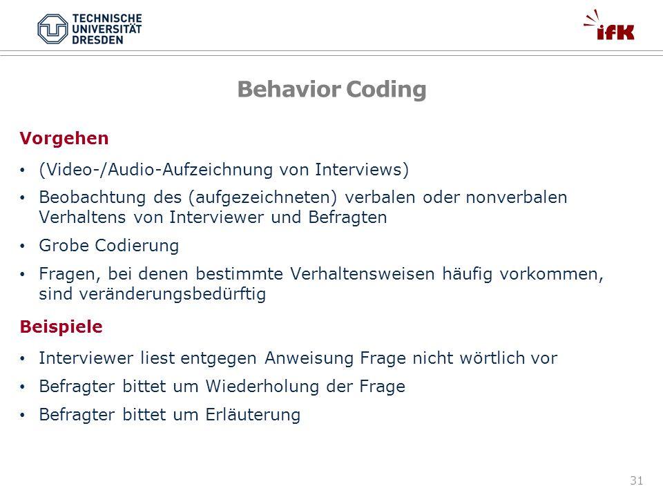 Behavior Coding Vorgehen (Video-/Audio-Aufzeichnung von Interviews)