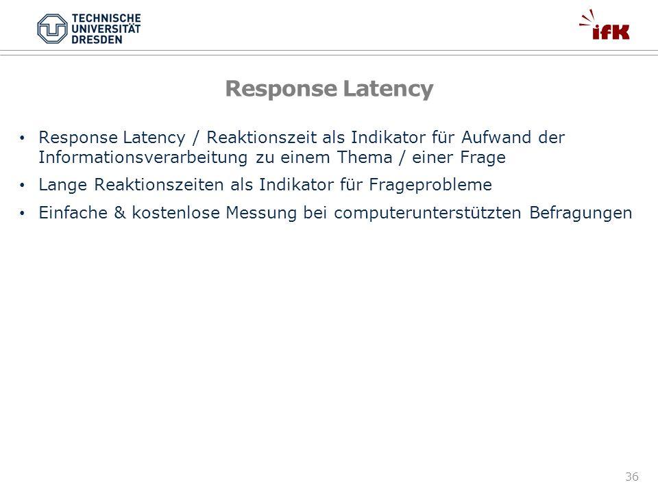 Response Latency Response Latency / Reaktionszeit als Indikator für Aufwand der Informationsverarbeitung zu einem Thema / einer Frage.