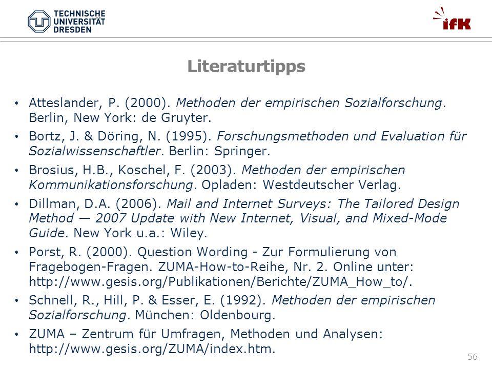 Literaturtipps Atteslander, P. (2000). Methoden der empirischen Sozialforschung. Berlin, New York: de Gruyter.