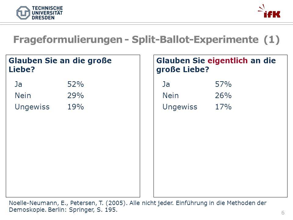 Frageformulierungen - Split-Ballot-Experimente (1)