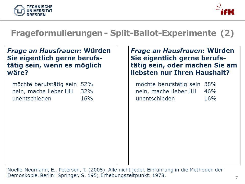 Frageformulierungen - Split-Ballot-Experimente (2)