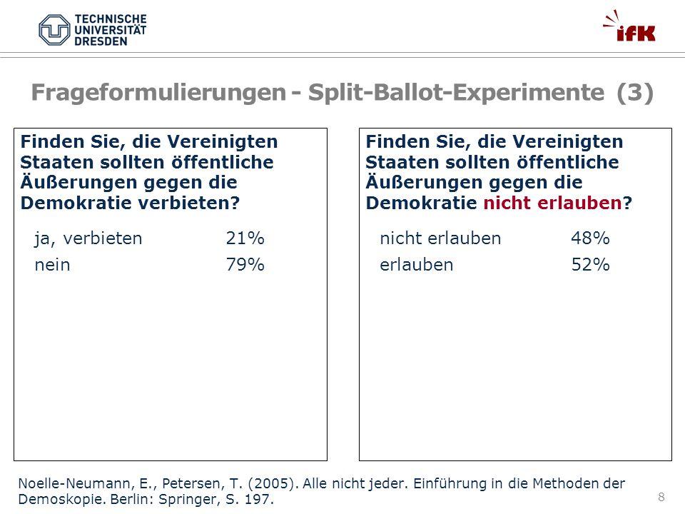 Frageformulierungen - Split-Ballot-Experimente (3)