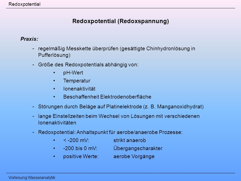 Redoxpotential (Redoxspannung)