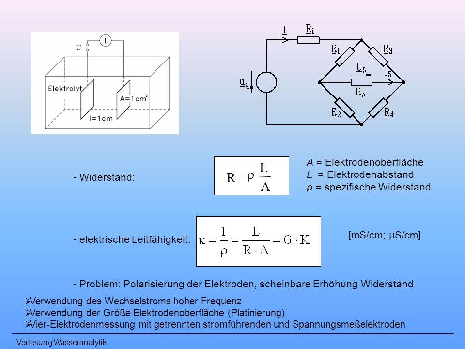 L r R= A A = Elektrodenoberfläche L = Elektrodenabstand - Widerstand: