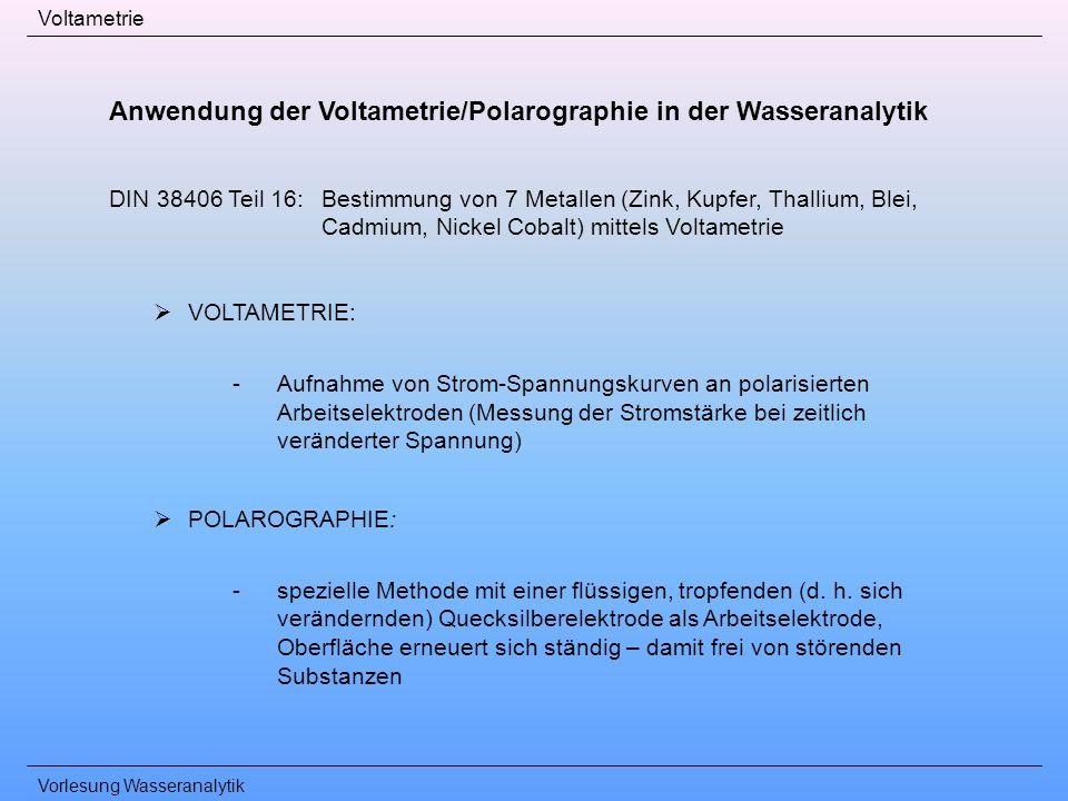 Anwendung der Voltametrie/Polarographie in der Wasseranalytik
