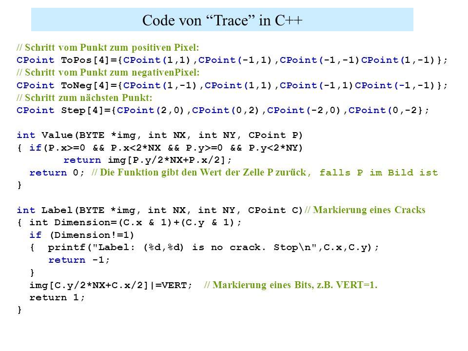 Code von Trace in C++ // Schritt vom Punkt zum positiven Pixel: