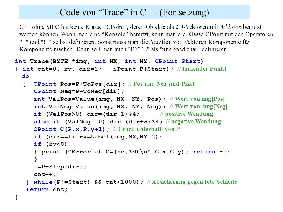 Code von Trace in C++ (Fortsetzung)