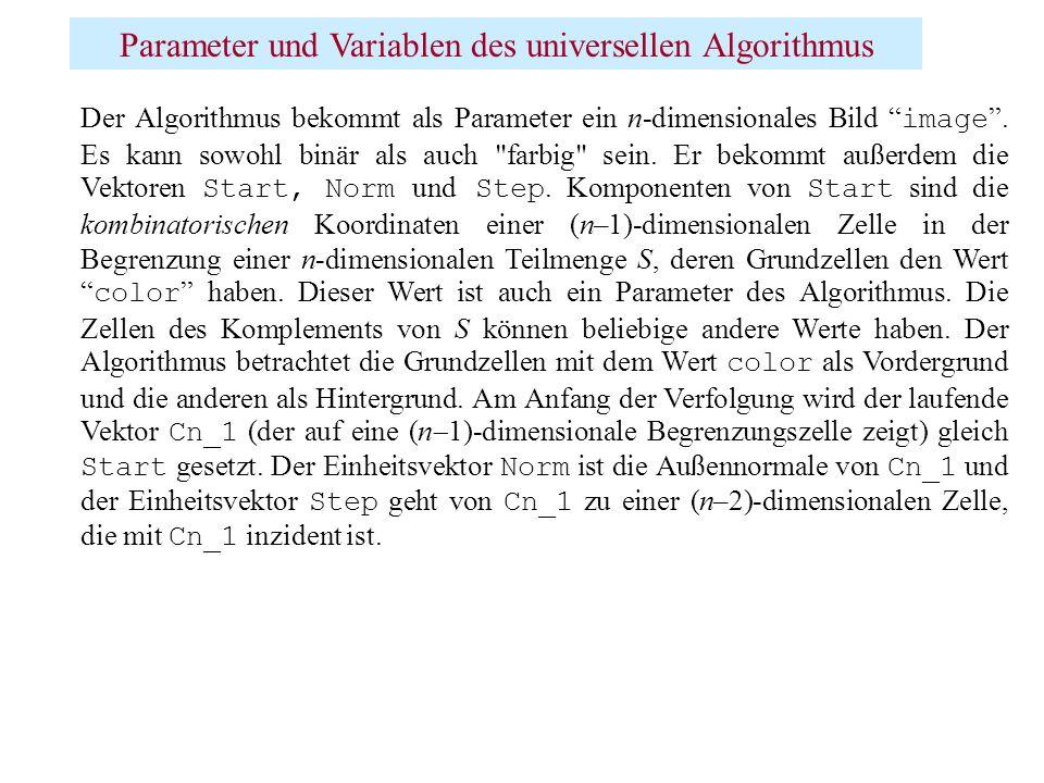 Parameter und Variablen des universellen Algorithmus