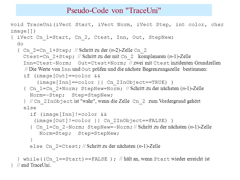 Pseudo-Code von TraceUni