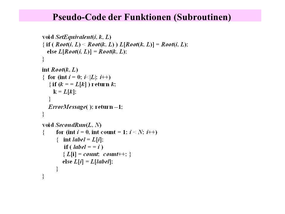 Pseudo-Code der Funktionen (Subroutinen)