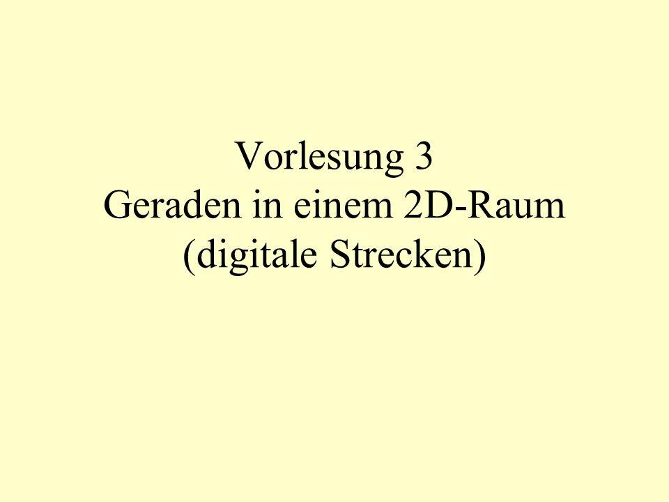 Vorlesung 3 Geraden in einem 2D-Raum (digitale Strecken)
