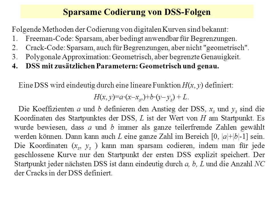 Sparsame Codierung von DSS-Folgen