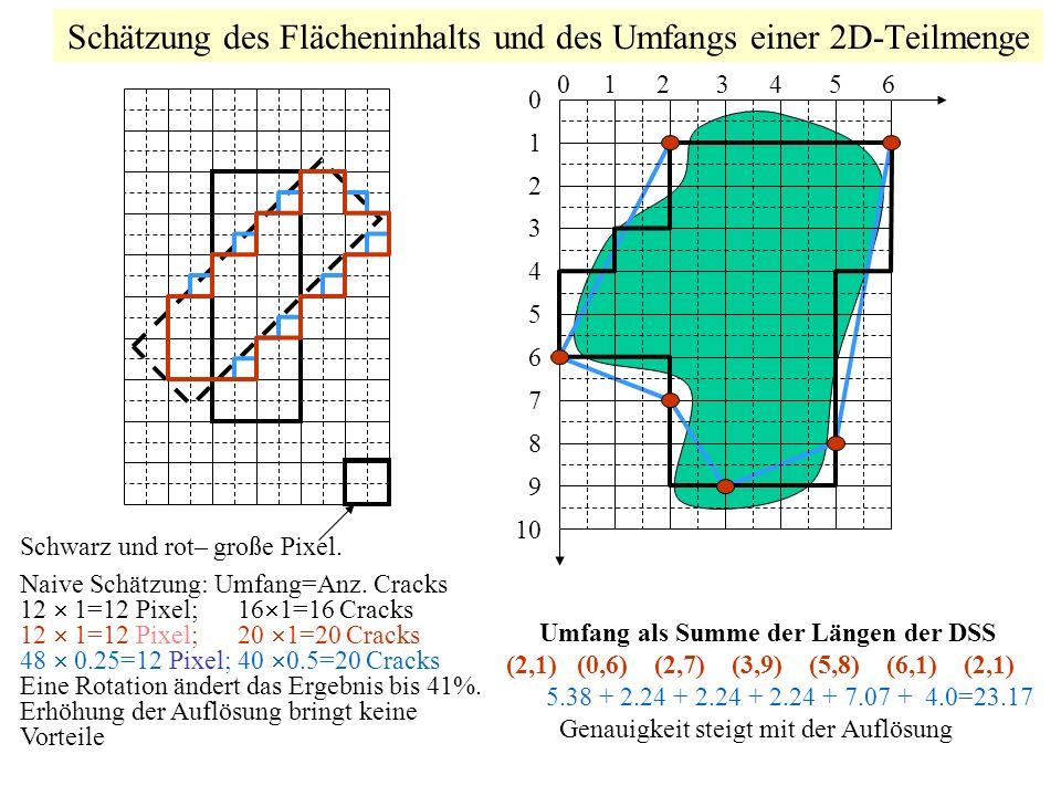 Schätzung des Flächeninhalts und des Umfangs einer 2D-Teilmenge