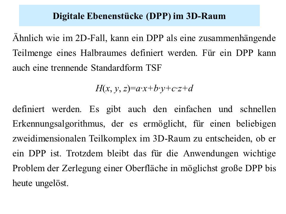 Digitale Ebenenstücke (DPP) im 3D-Raum