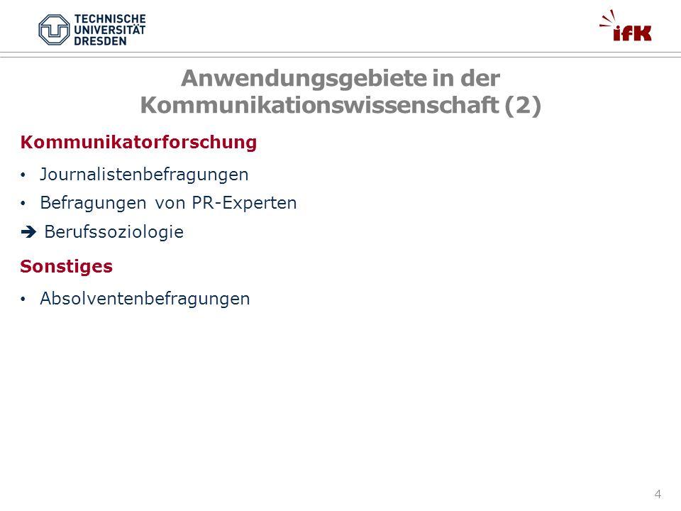 Anwendungsgebiete in der Kommunikationswissenschaft (2)