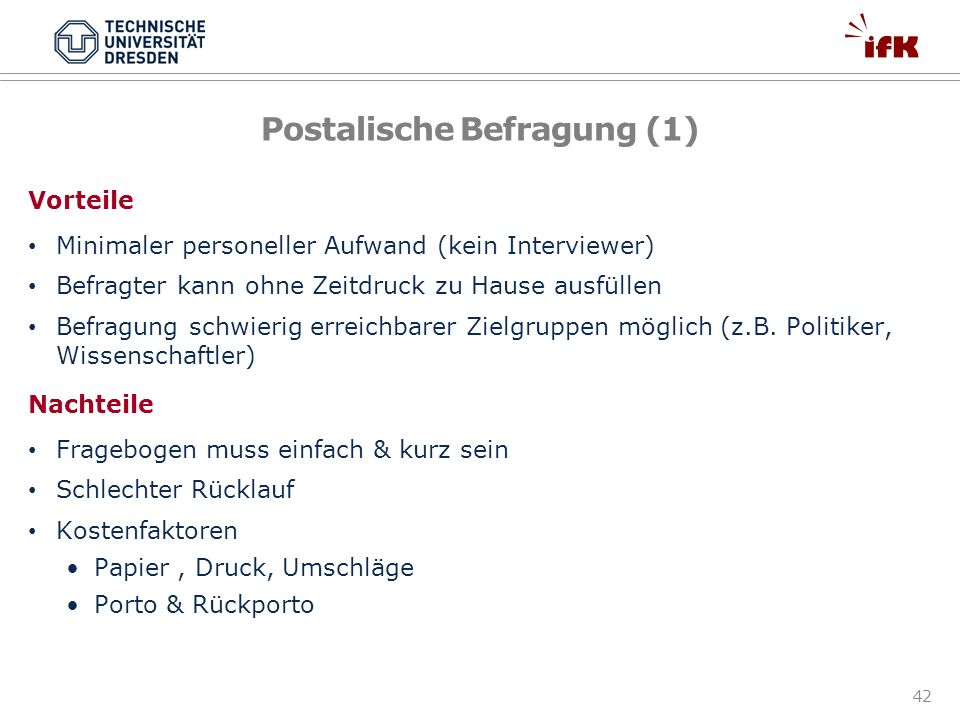 Postalische Befragung (1)