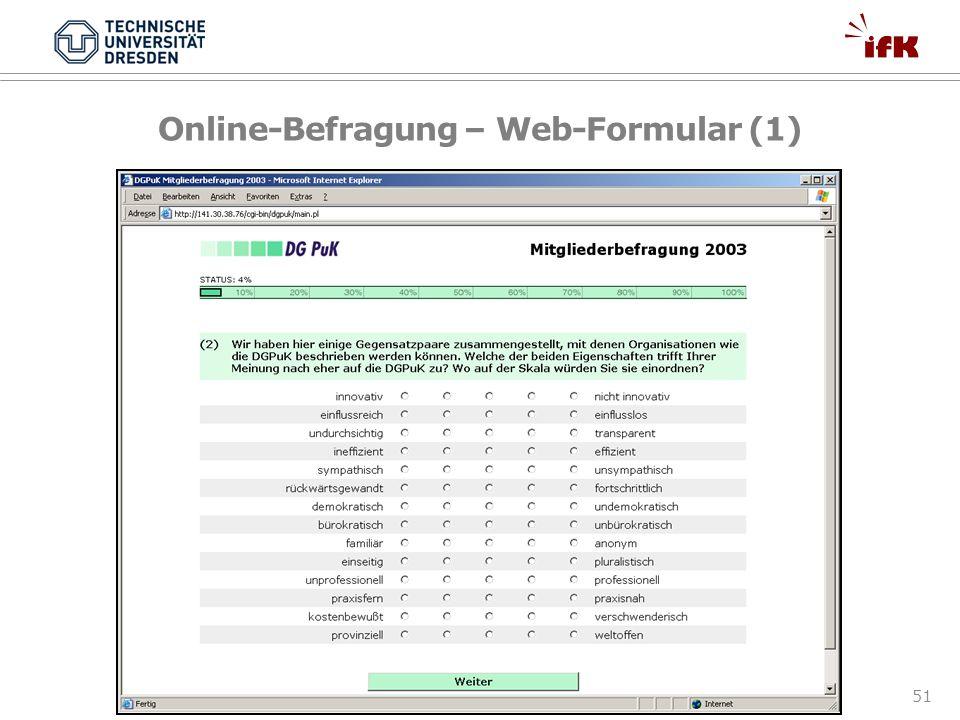 Online-Befragung – Web-Formular (1)