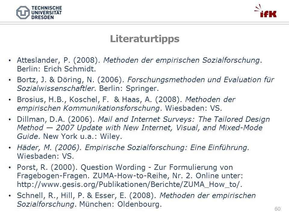 Literaturtipps Atteslander, P. (2008). Methoden der empirischen Sozialforschung. Berlin: Erich Schmidt.