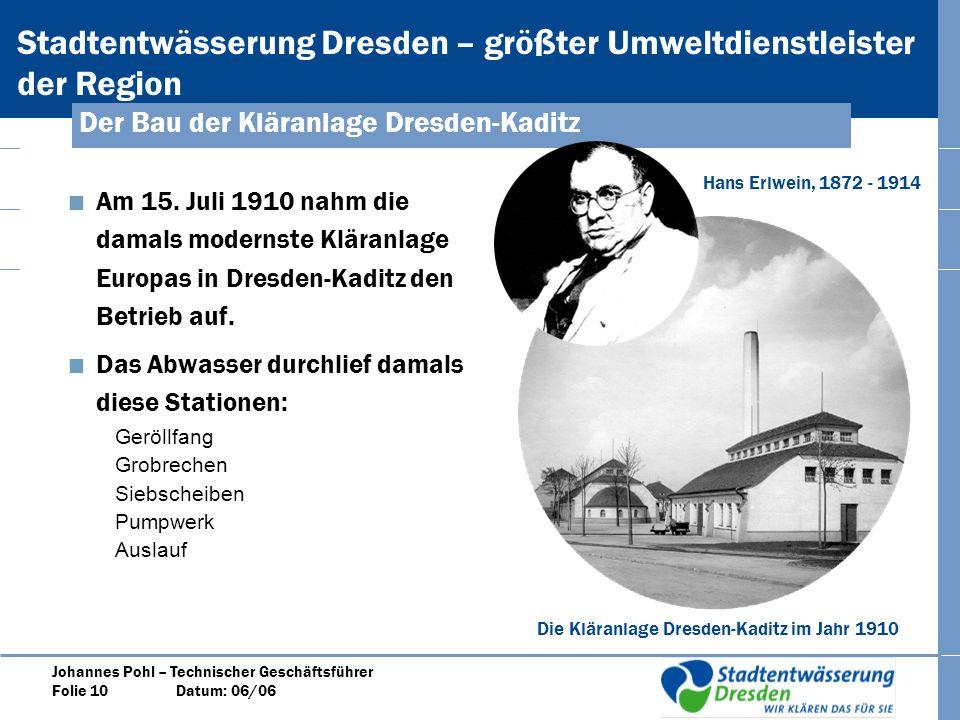 Der Bau der Kläranlage Dresden-Kaditz