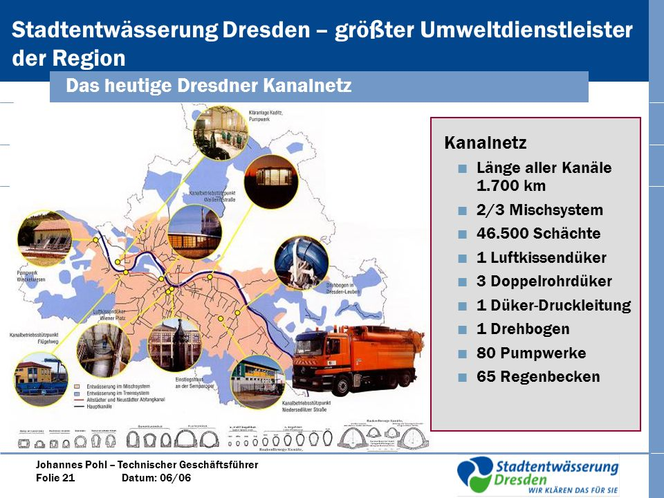 Das heutige Dresdner Kanalnetz