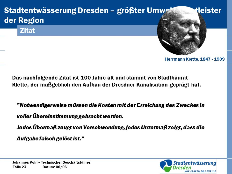 Zitat Herrmann Klette, 1847 - 1909.