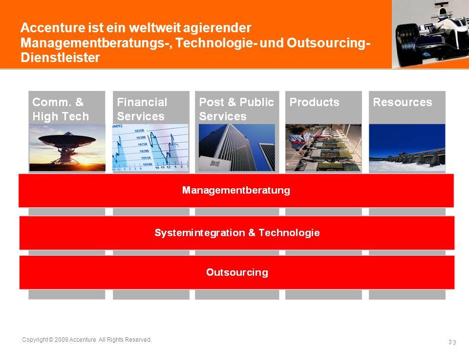 Accenture ist ein weltweit agierender Managementberatungs-, Technologie- und Outsourcing-Dienstleister