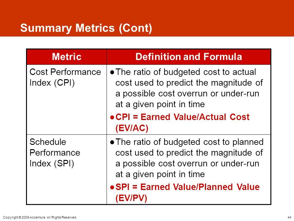 Summary Metrics (Cont)