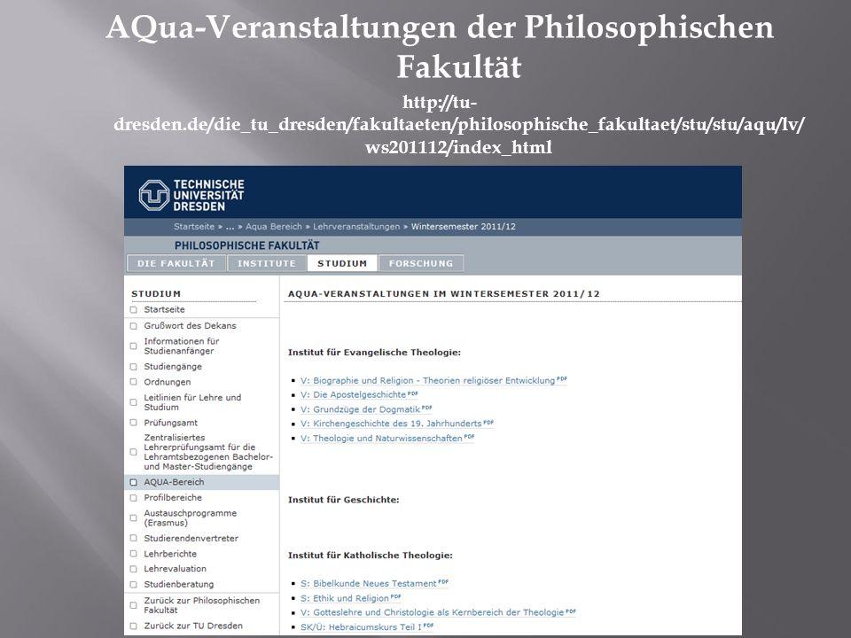 AQua-Veranstaltungen der Philosophischen Fakultät