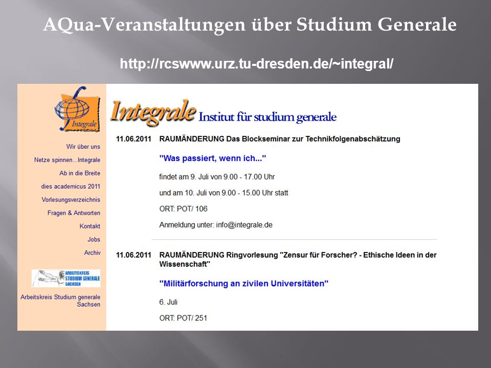 AQua-Veranstaltungen über Studium Generale