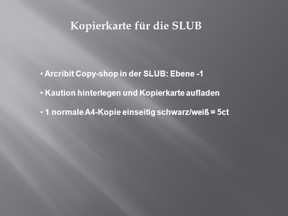 Kopierkarte für die SLUB