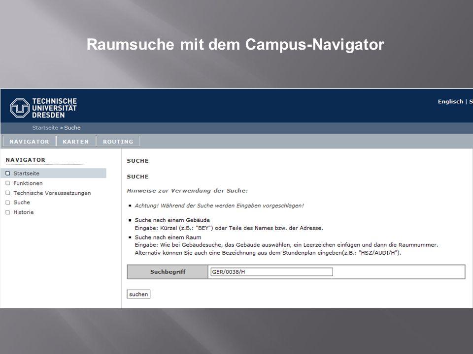 Raumsuche mit dem Campus-Navigator