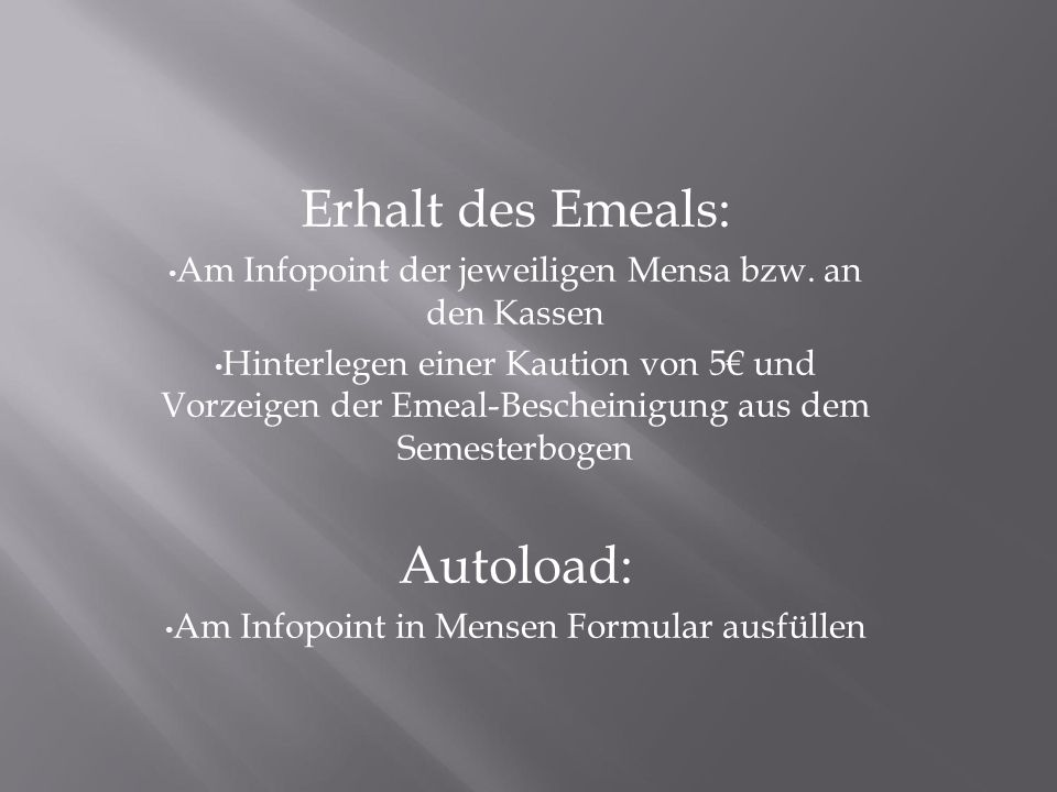 Erhalt des Emeals: Autoload: