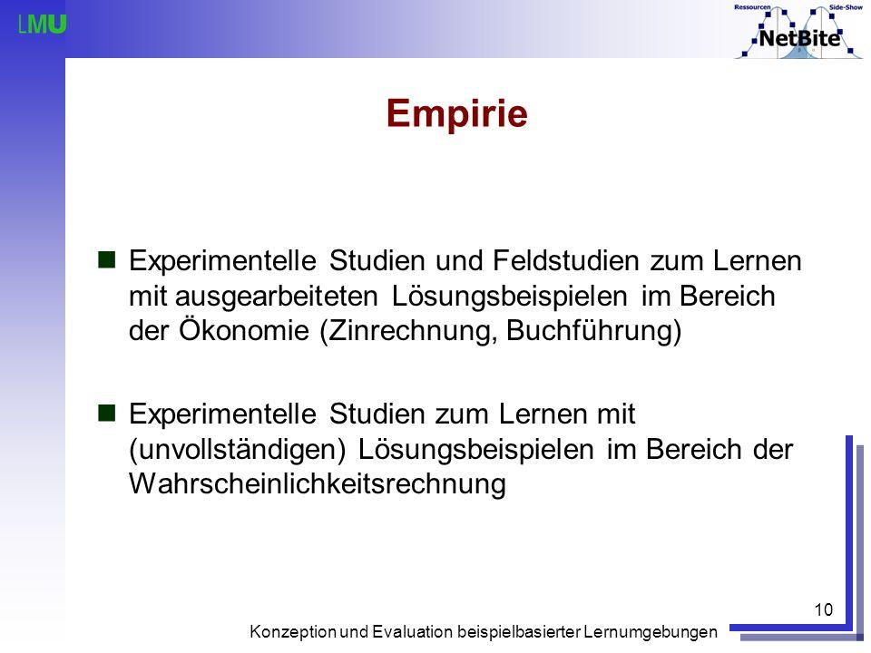 Empirie Experimentelle Studien und Feldstudien zum Lernen mit ausgearbeiteten Lösungsbeispielen im Bereich der Ökonomie (Zinrechnung, Buchführung)