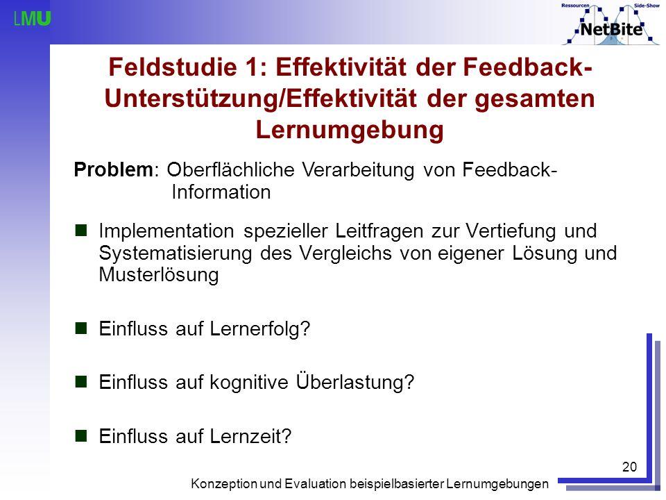 Feldstudie 1: Effektivität der Feedback-Unterstützung/Effektivität der gesamten Lernumgebung