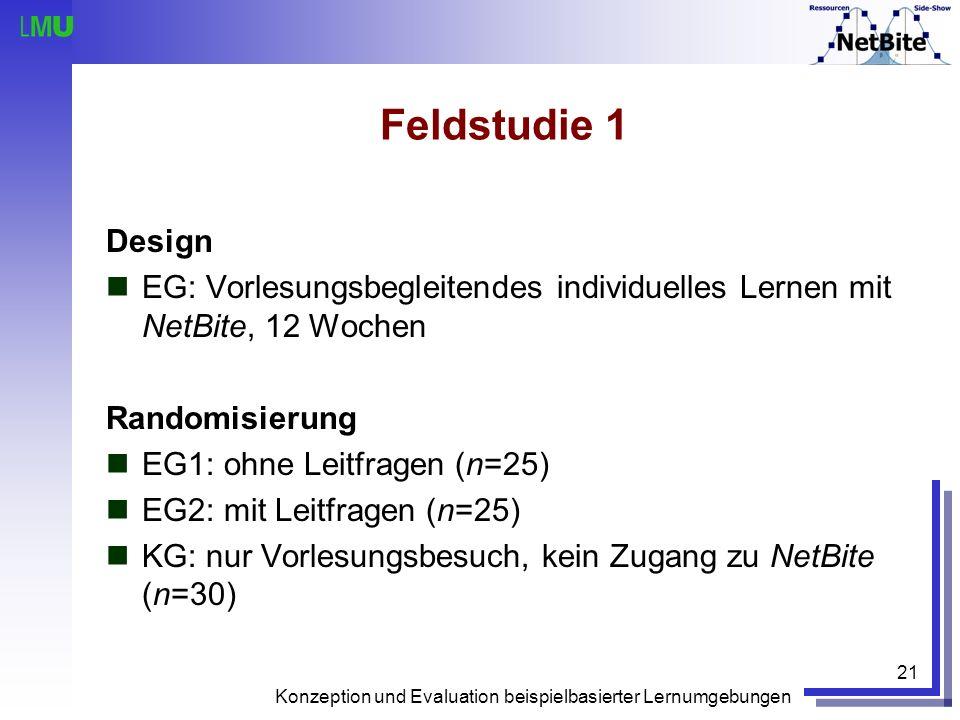 Feldstudie 1 Design. EG: Vorlesungsbegleitendes individuelles Lernen mit NetBite, 12 Wochen. Randomisierung.