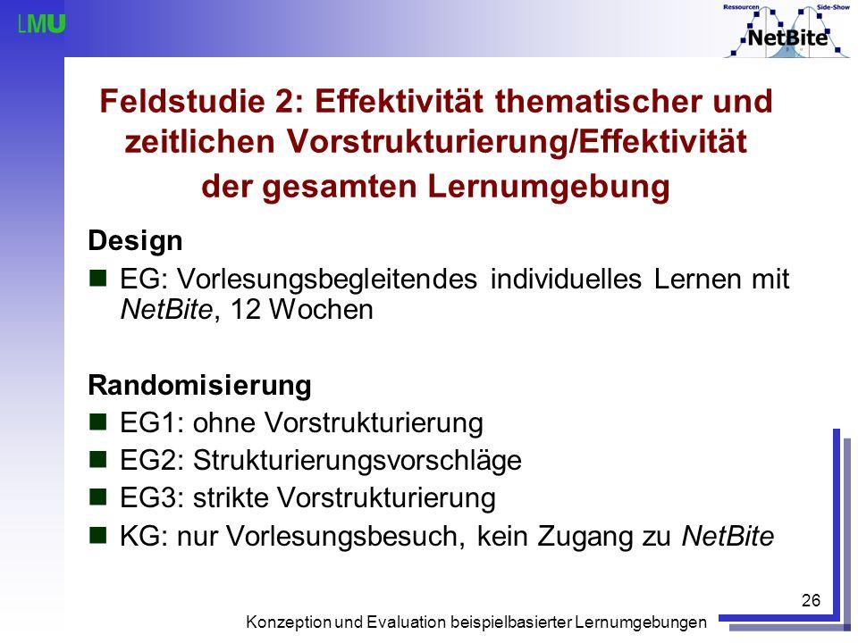 Feldstudie 2: Effektivität thematischer und zeitlichen Vorstrukturierung/Effektivität der gesamten Lernumgebung