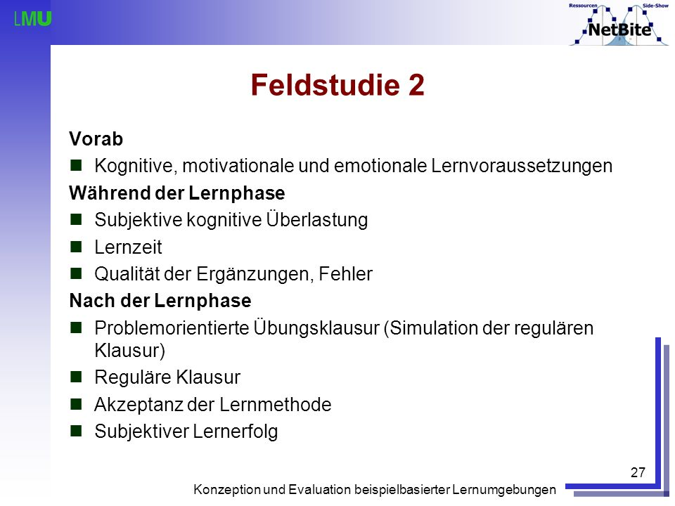 Feldstudie 2 Vorab. Kognitive, motivationale und emotionale Lernvoraussetzungen. Während der Lernphase.