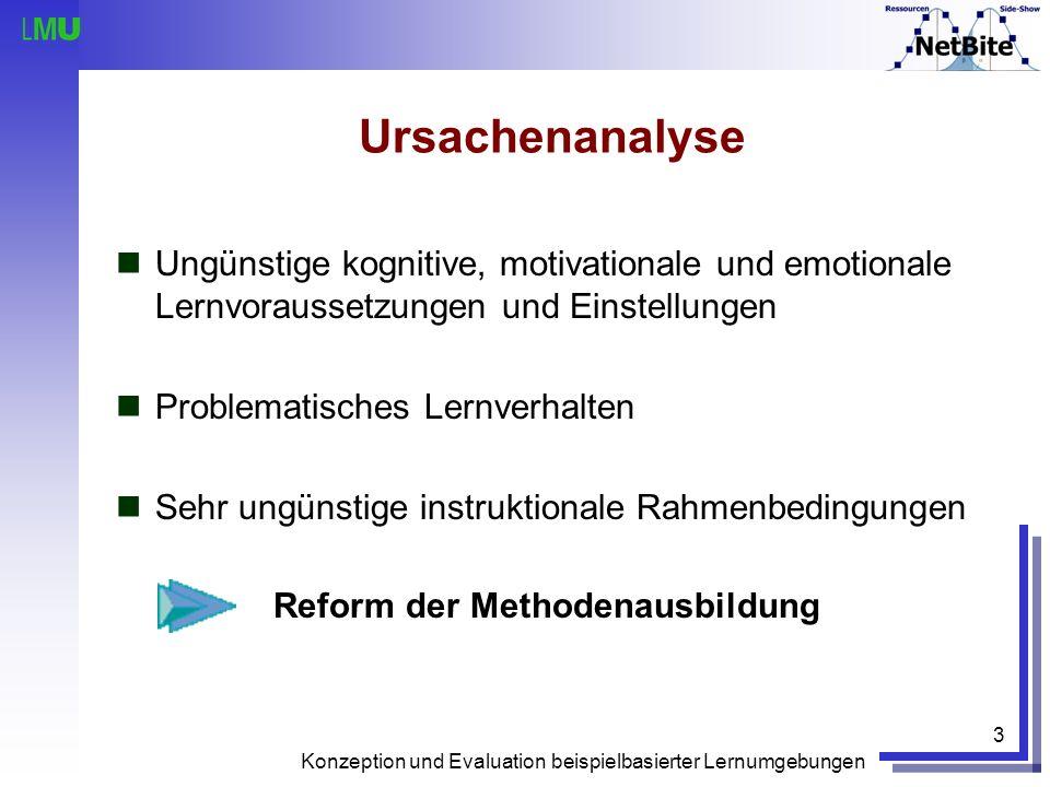 Ursachenanalyse Ungünstige kognitive, motivationale und emotionale Lernvoraussetzungen und Einstellungen.