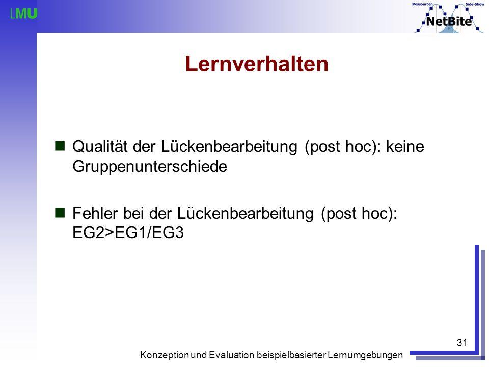 Lernverhalten Qualität der Lückenbearbeitung (post hoc): keine Gruppenunterschiede. Fehler bei der Lückenbearbeitung (post hoc): EG2>EG1/EG3.