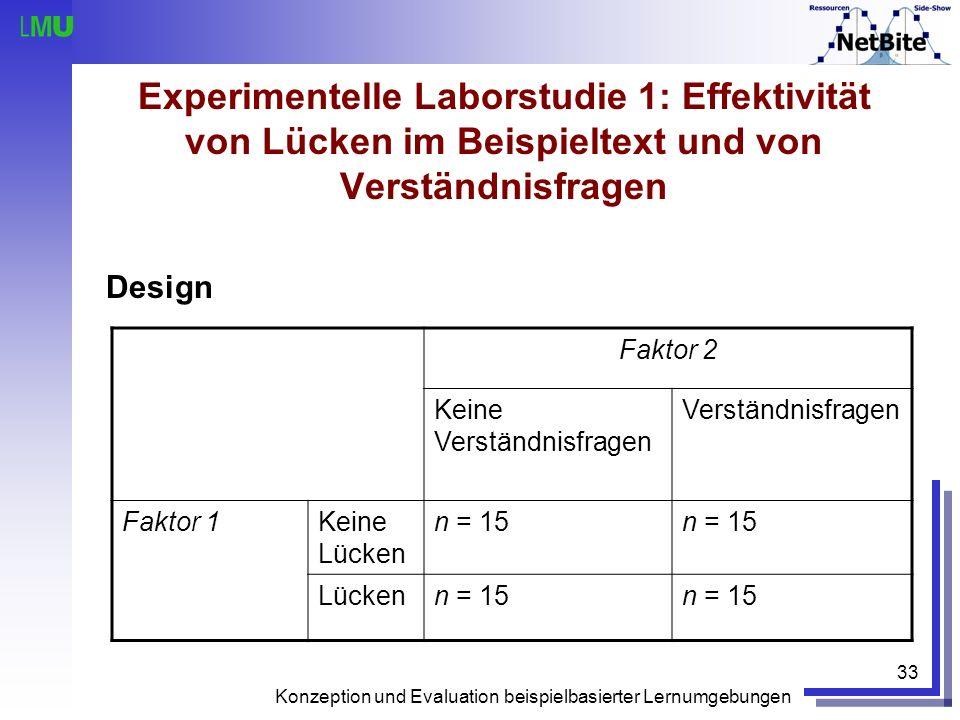 Experimentelle Laborstudie 1: Effektivität von Lücken im Beispieltext und von Verständnisfragen