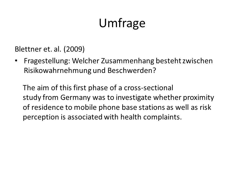 Umfrage Blettner et. al. (2009)