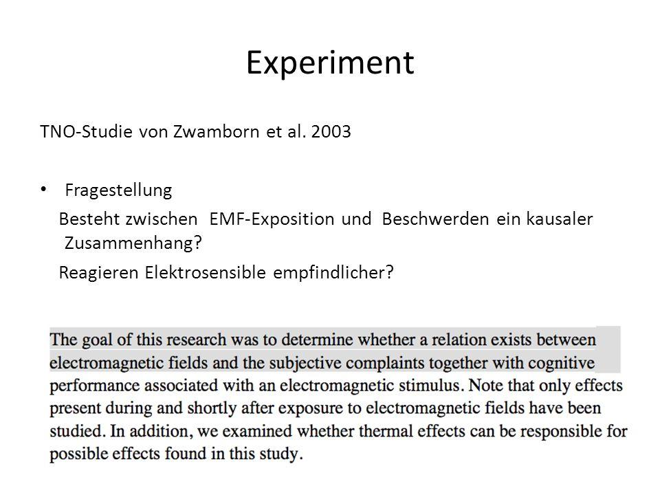 Experiment TNO-Studie von Zwamborn et al. 2003 Fragestellung