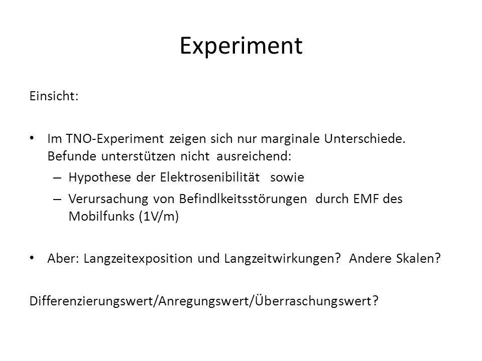 Experiment Einsicht: Im TNO-Experiment zeigen sich nur marginale Unterschiede. Befunde unterstützen nicht ausreichend: