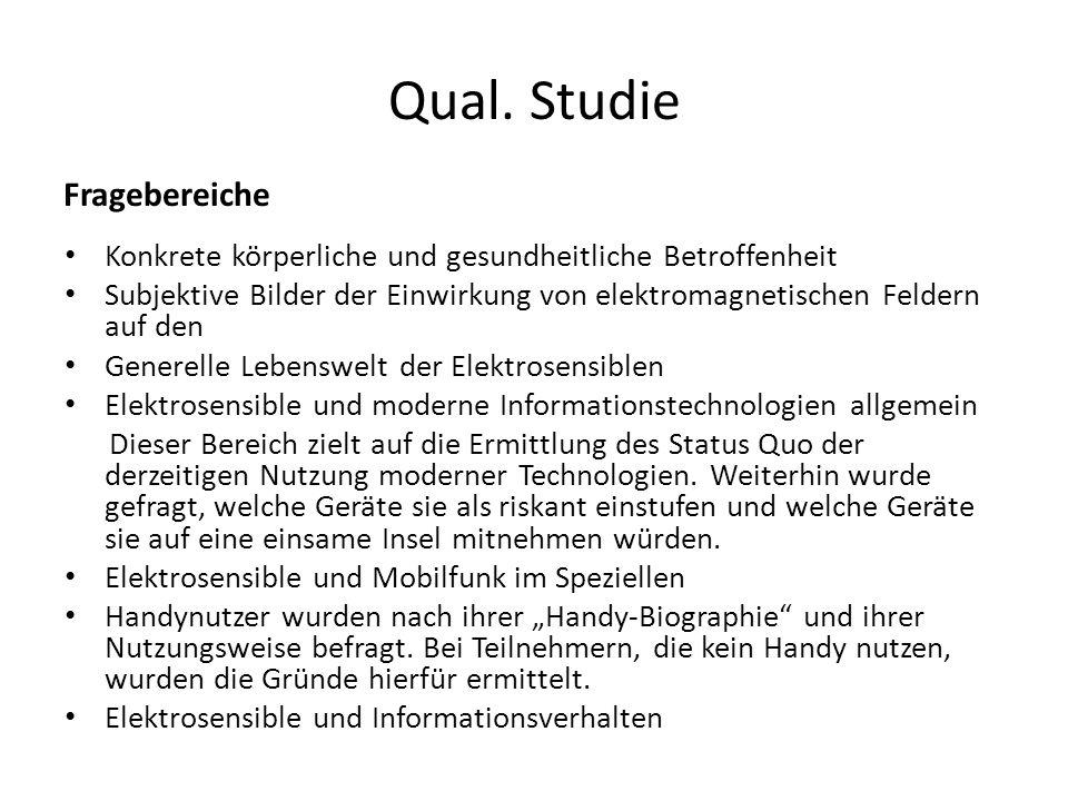 Qual. Studie Fragebereiche