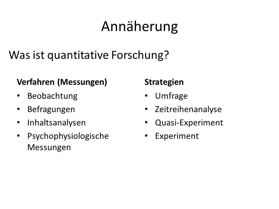 Annäherung Was ist quantitative Forschung Verfahren (Messungen)