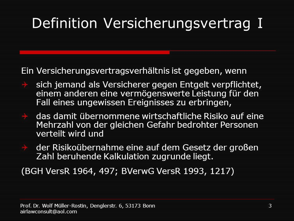 Definition Versicherungsvertrag I