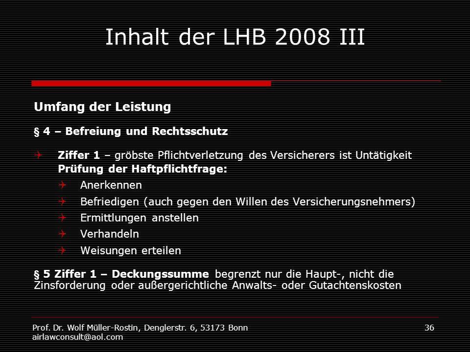 Inhalt der LHB 2008 III Umfang der Leistung