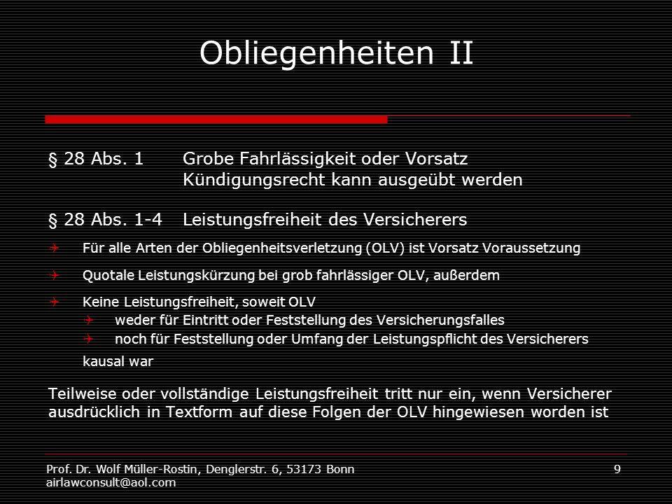 Obliegenheiten II § 28 Abs. 1 Grobe Fahrlässigkeit oder Vorsatz