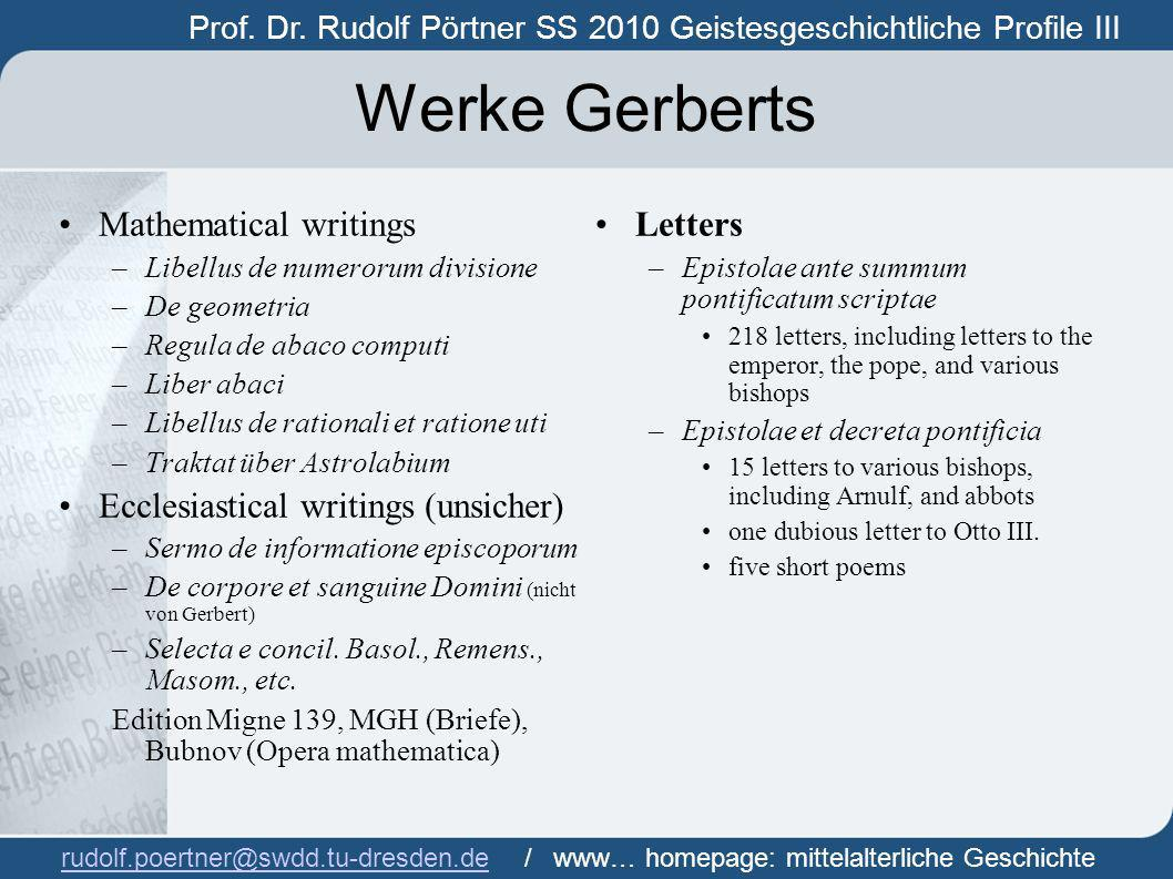 Werke Gerberts Mathematical writings